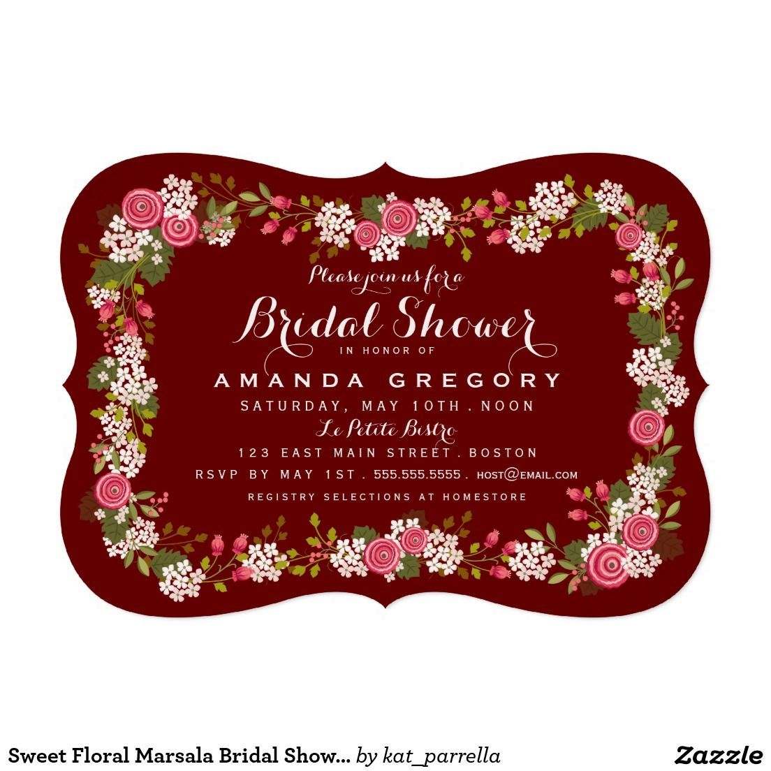Sweet Floral Marsala Bridal Shower Invitation | SPRING WEDDING ...