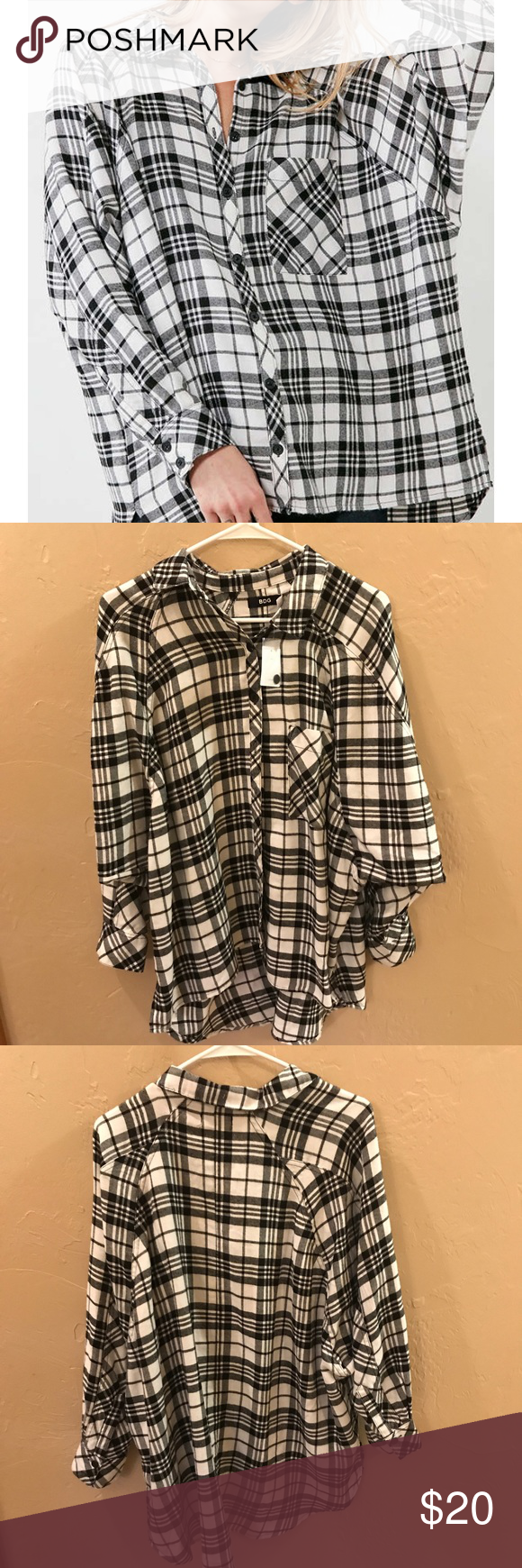 Flannel shirt knot  Urban outfitters bdg oversized flannel NWT  Oversized flannel