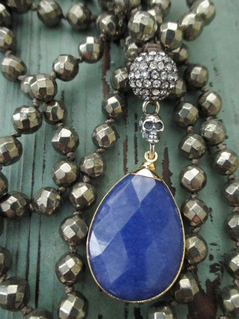 Knotted sterling silver skull necklace - Gypsy Blue - cobalt royal blue semi precious stones bohemian boho by slashKnots
