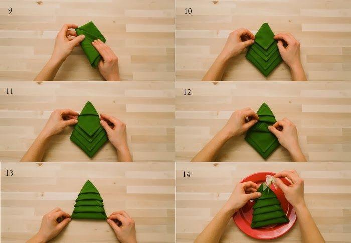 Doblar servilletas en forma de arbol de navidad