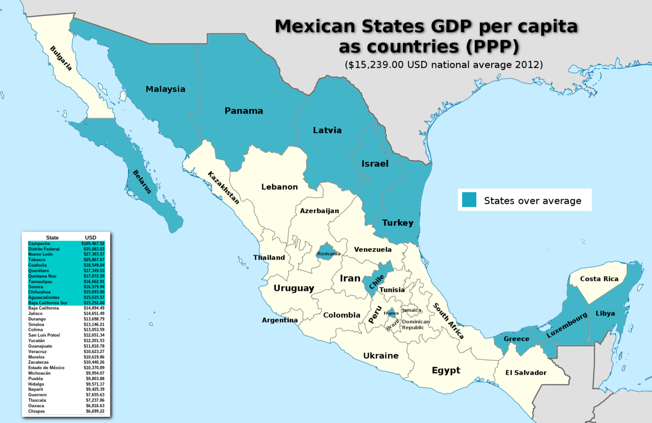 Mexican states compared to countries by GDP per capita ...