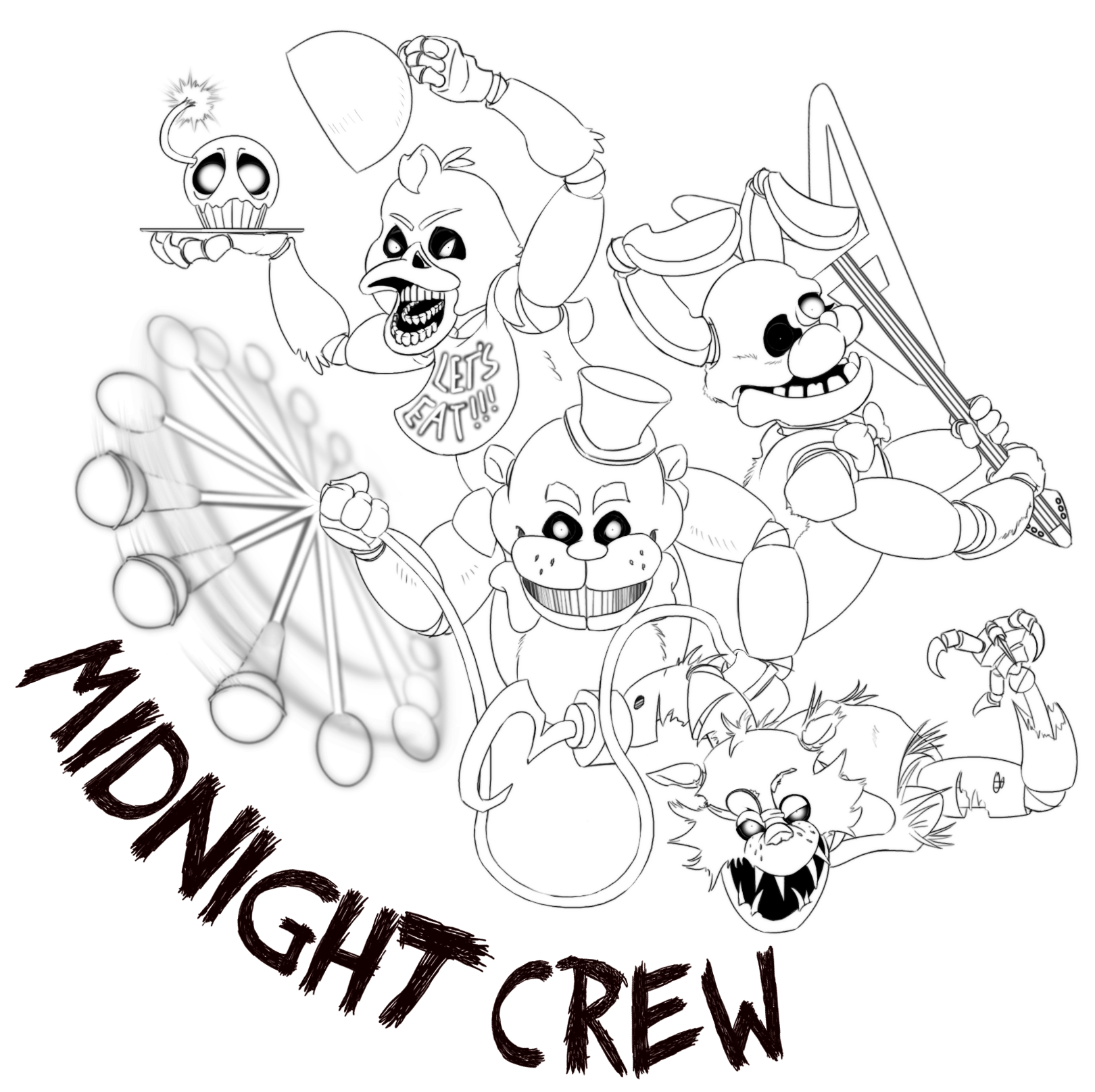 Color crew printables - Freddys At Five Nights Coloring Pages Sketch Coloring Page