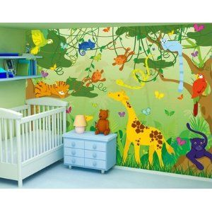 fototapete comic jungle 400x280cm kinder kinderzimmer tiere dschungel affen wald. Black Bedroom Furniture Sets. Home Design Ideas