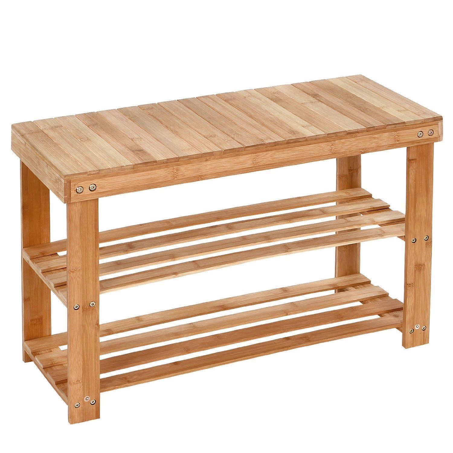 3 Tier Bamboo Bench Shoe Rack. Keep Your Shoes Organised With Our Stylish  Solid Bamboo