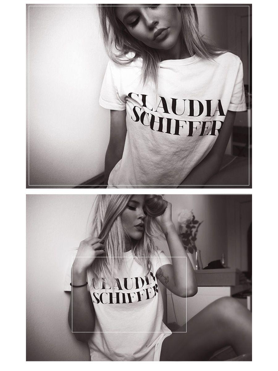 Claudia Shiffer printed t-shirt.
