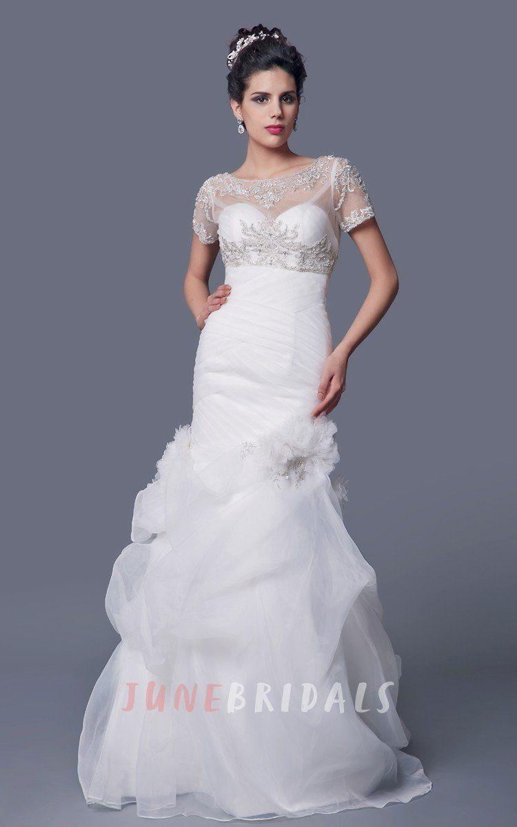 Vintage cowl neck wedding dress  Amazing Aline Organza Wedding Dress With Beaded Jacket u June