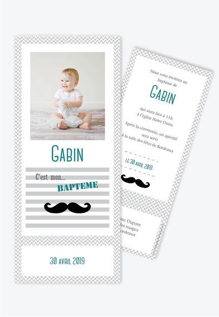 Faire Part Bapteme Garcon Moustache Anniversaire Faire Part