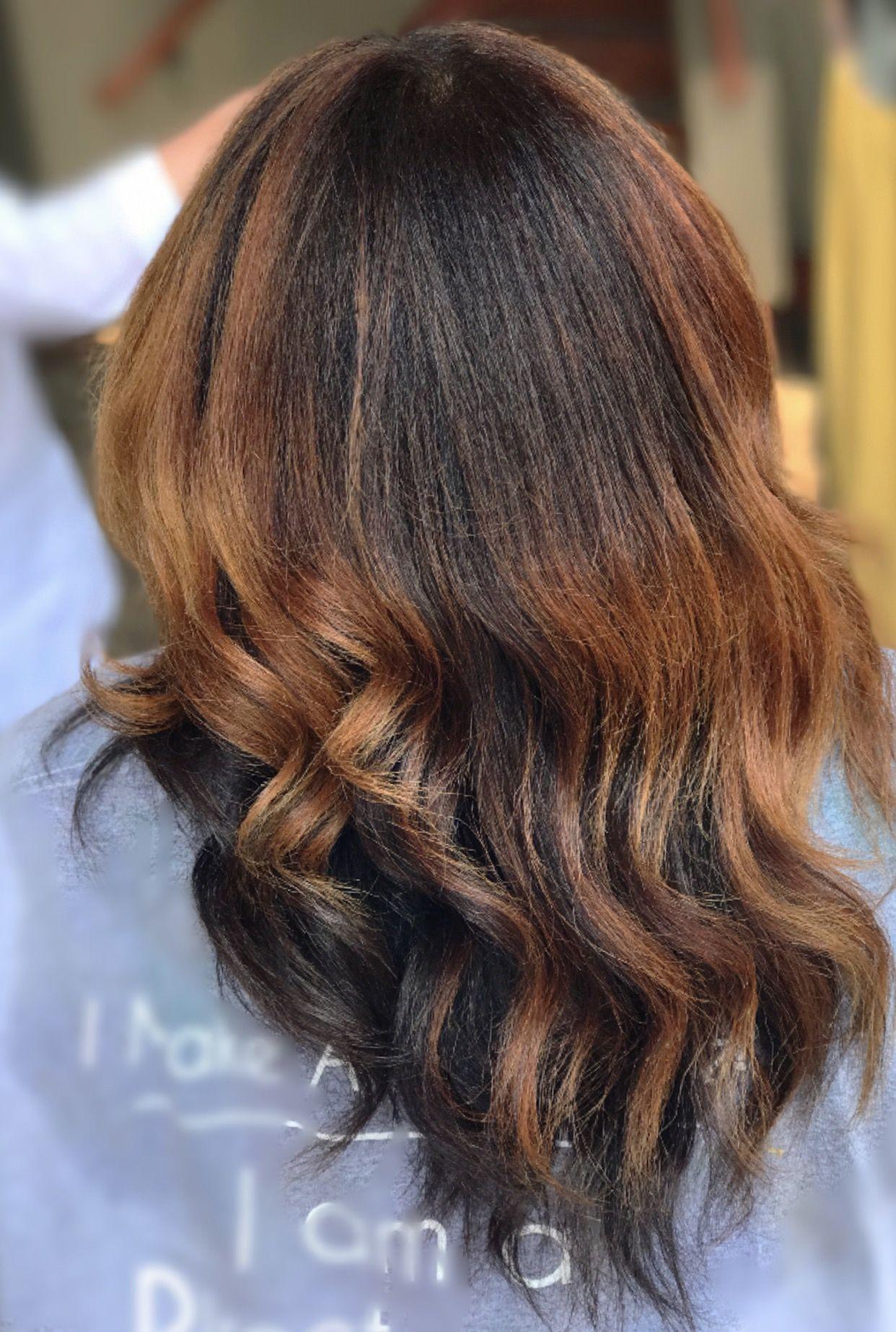 Long Layers African American Natural hair #balayage #sponge #naturalhair #silkpress   Natural ...
