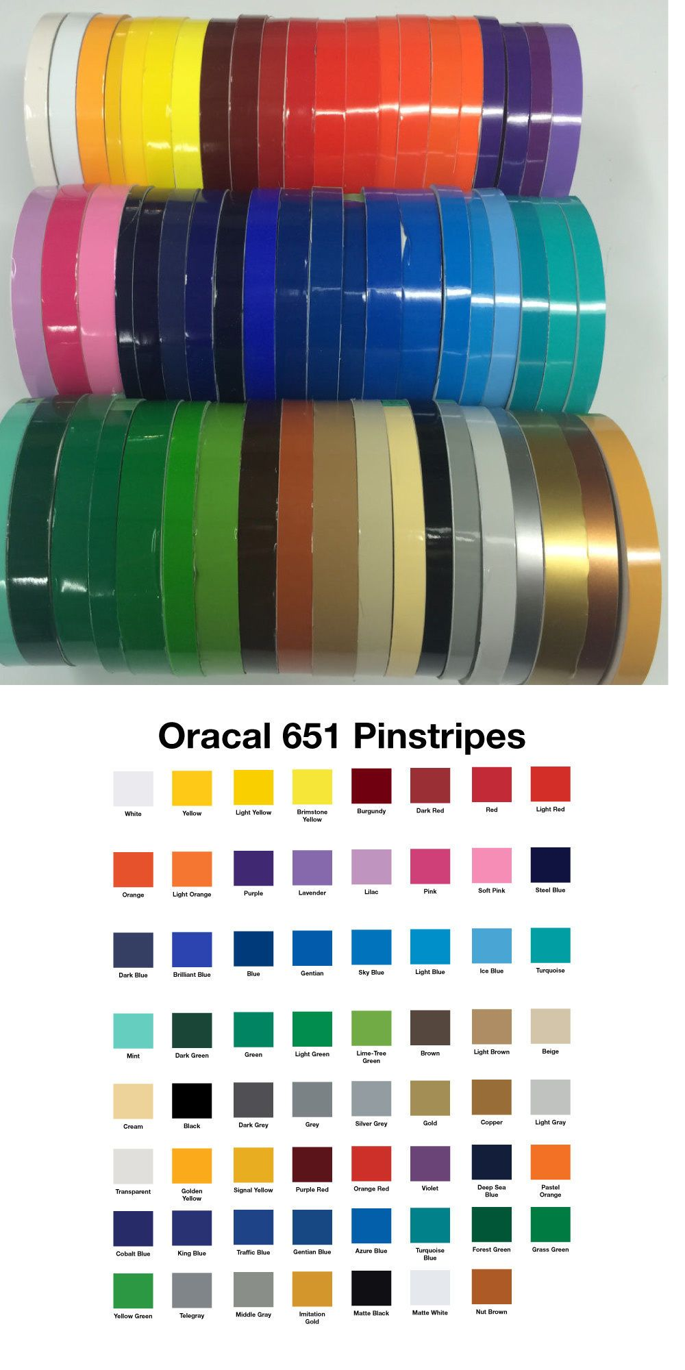 1 2 X 150 Ft Roll Oracal Vinyl Pinstriping Pinstripe Tape 63 Colors Available Oracal Vinyl Oracal Pinstriping