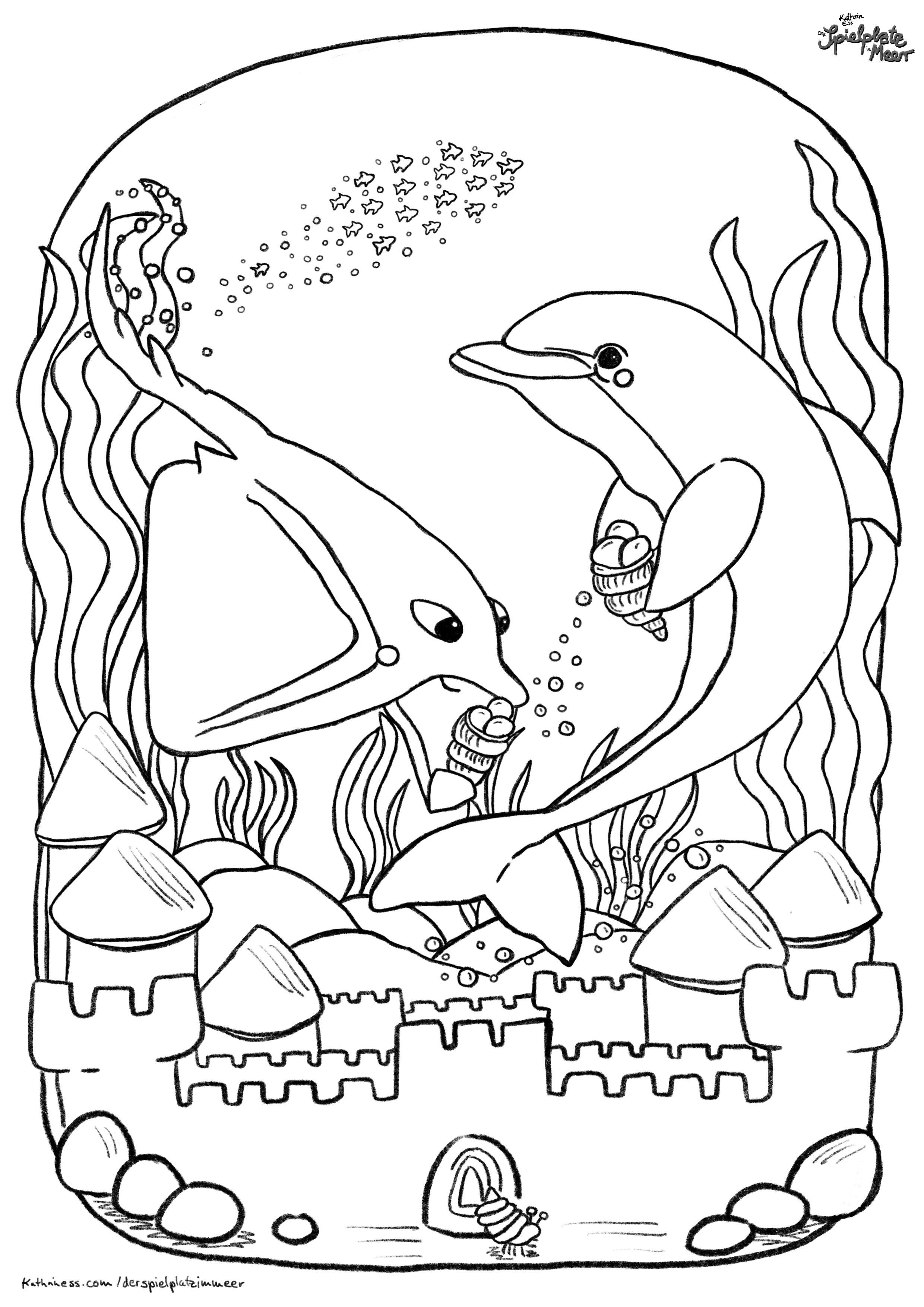 Ausmalbild Rochen Und Delfin Bauen Eine Sandburg Der Spielplatz Im Meer Kinderbucher Ausmalbild Ausmalen