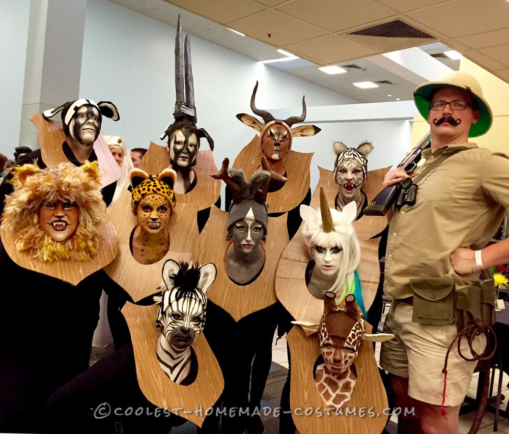 amazing taxidermy animal heads funny group costume | costume contest