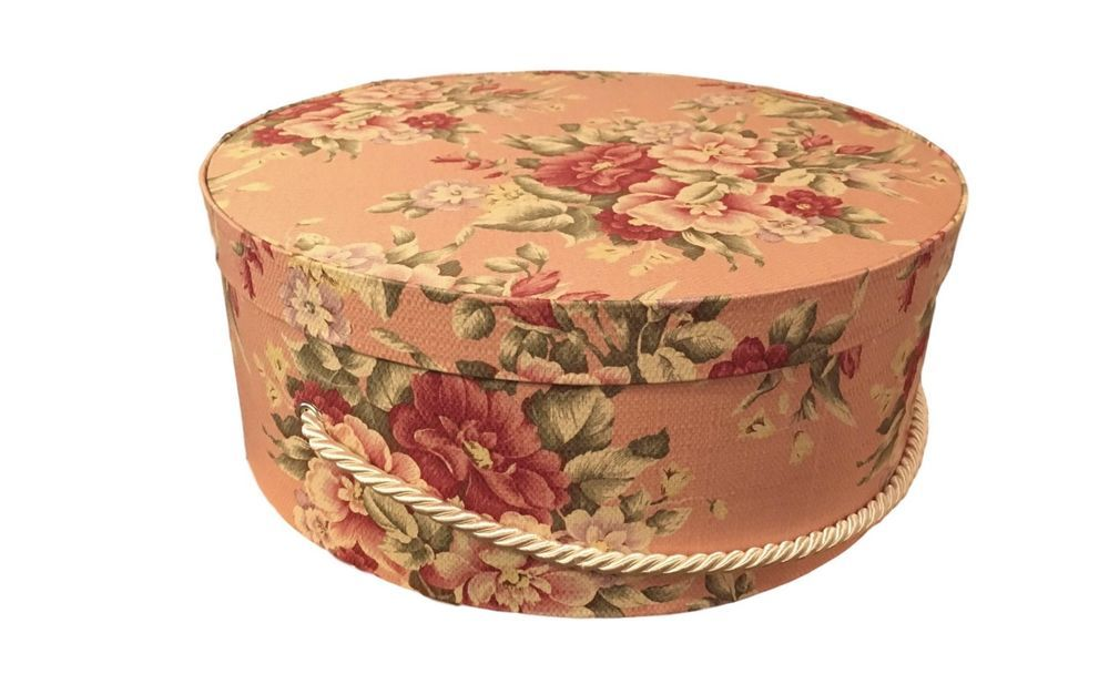 Large Hat Box In Peach Floral, Round Box, Storage Box, Fabric Covered, Hat  Boxes