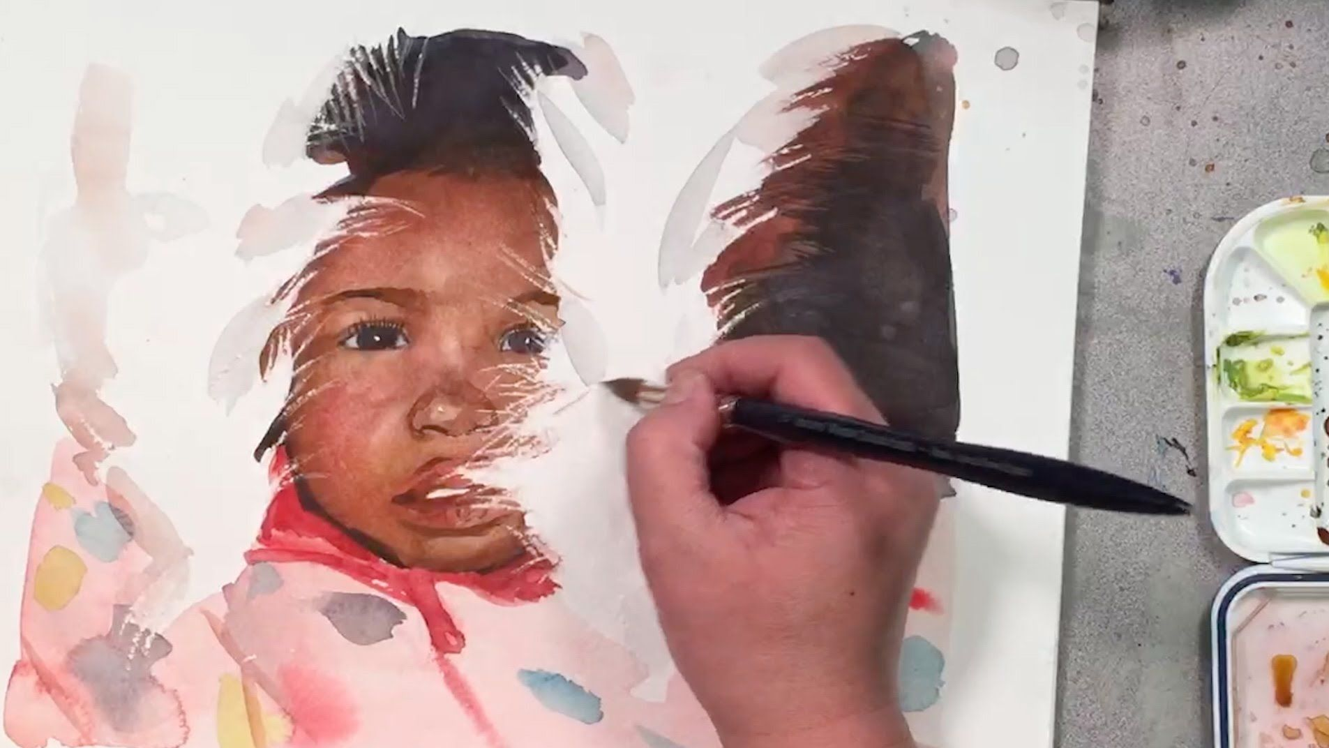 Watercolor Portrait Painting Demo Of A Girl Using Scratching