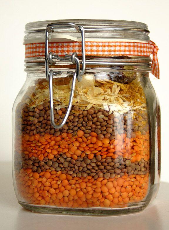 Cinco Quartos de Laranja: Sopa de lentilhas com caril num frasco como presente de Natal