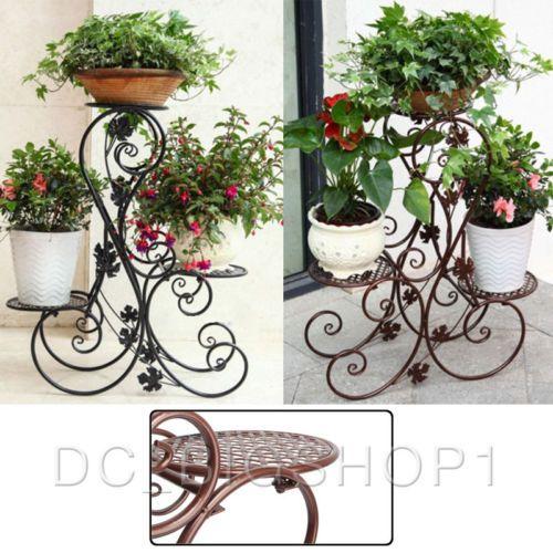 5b80c0a3ab31 3 TIER Floor-Standing Metal Pot Plant Stand Flower Planter S-Design Black/Brown  | eBay
