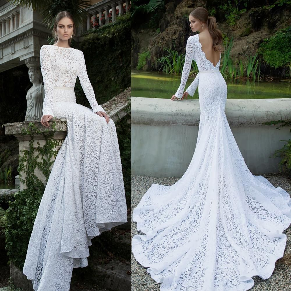 Vintage Lace Wedding Dress Long Sleeve Backless Bridal Gowns