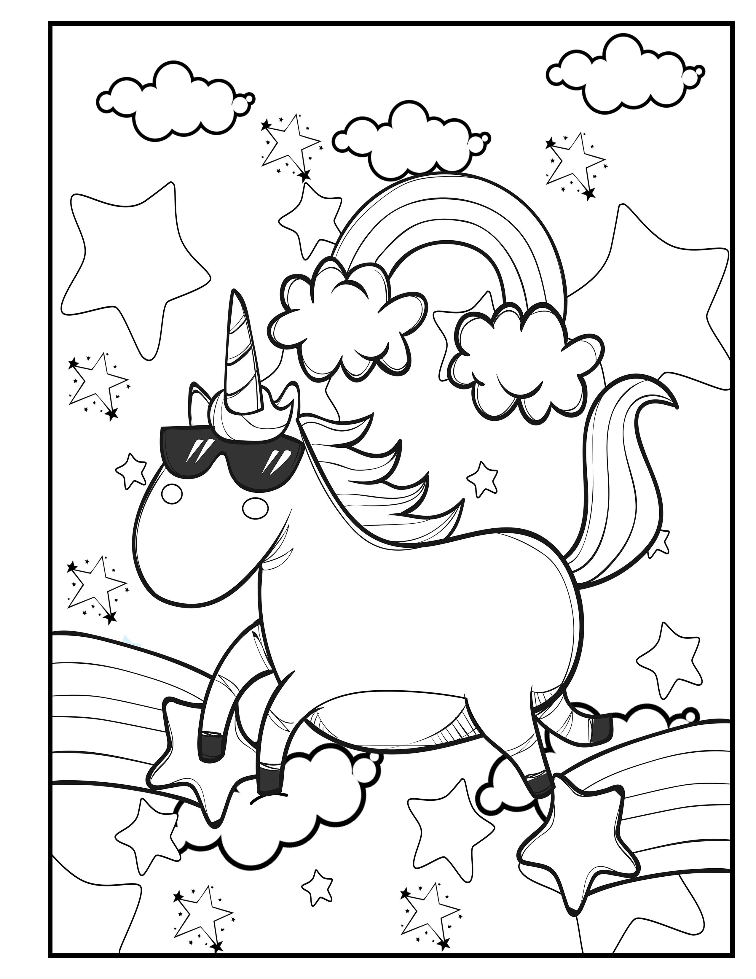 Unicorn in sunglasses. Rainbow unicorn. Unicorn Coloring