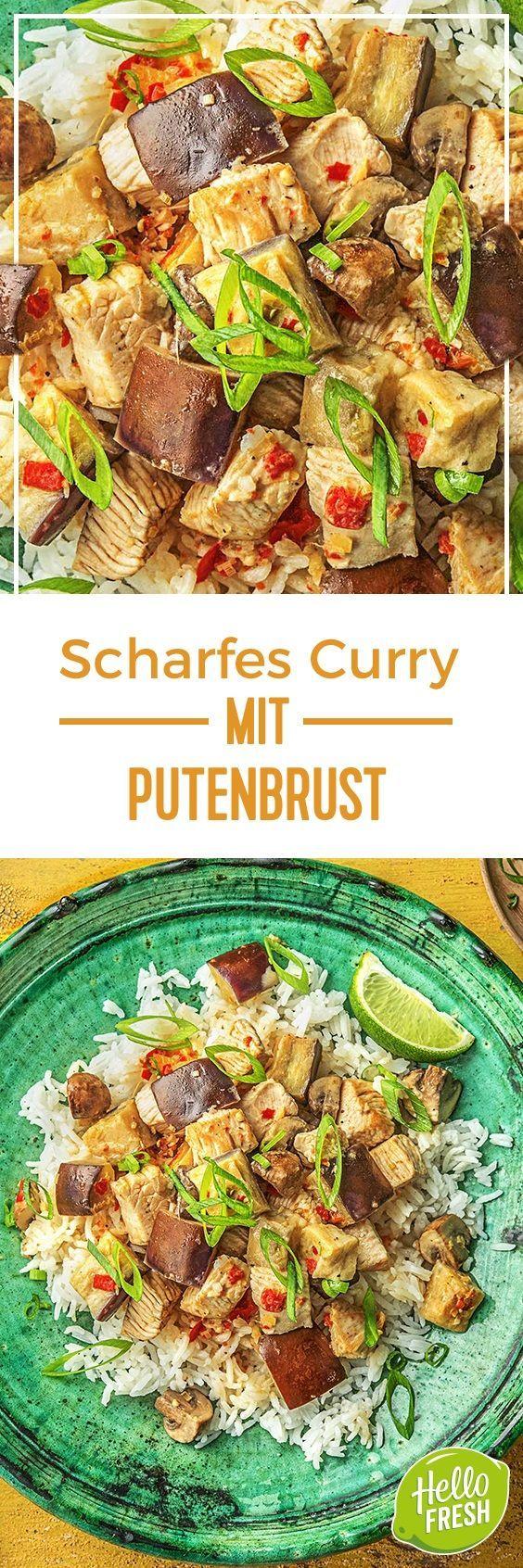 Scharfes Curry mit Putenbrust selbst gemachter Currypaste und Jasminreis