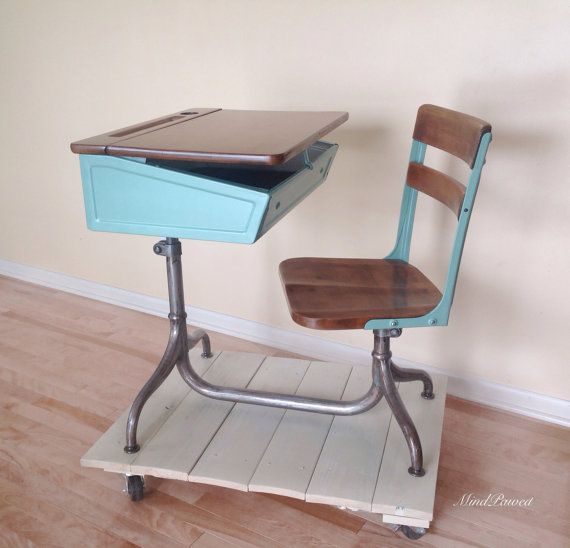 1930s School desk chair combo. American Seating Company. Adjustable height,  swivel chair, - Vintage School Desk - Chair Combo - Metal And Wood -1930's