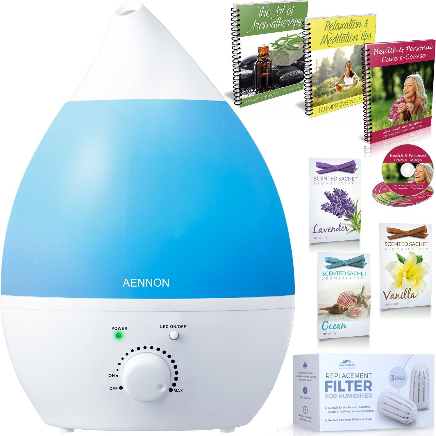 Cool Mist Humidifier Whisper Quiet with 7 Color LED Lights