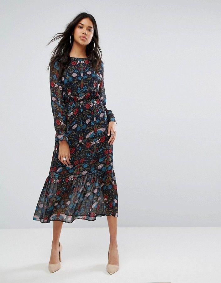 38e43dbfcaec5 Boohoo Floral Print Midi Dress