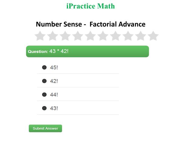 iPractice Math Number Sense Factorial Advance – Factorials Worksheet