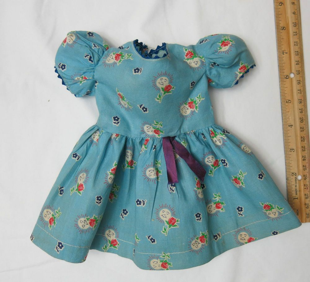"1940's Happy Blue Print Dress for 17-18"" Composition Hard Plastic Doll Nr Mint #ClothingAccessories"