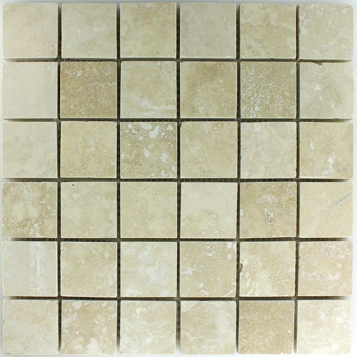 Travertin Mosaik Fliesen Beige Gespachtelt 48x48x10mm | Ikea-reworks ...