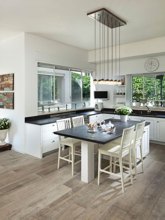 Kitchen island table design pictures remodel decor and - Kitchen island designs with seating for 6 ...