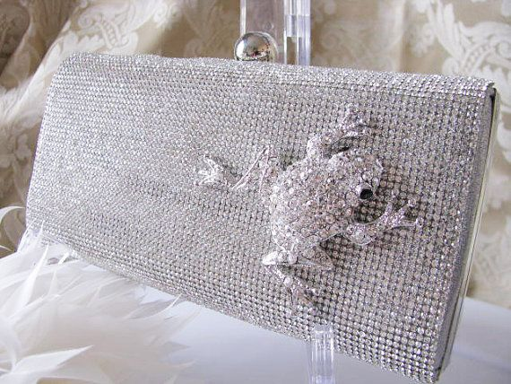Silver Fabric Clear Crystal Front Fabric Wedding Bag Clutch Formal Evening Bag with  Rare Camouflage Purse Frog on Etsy, $70.00