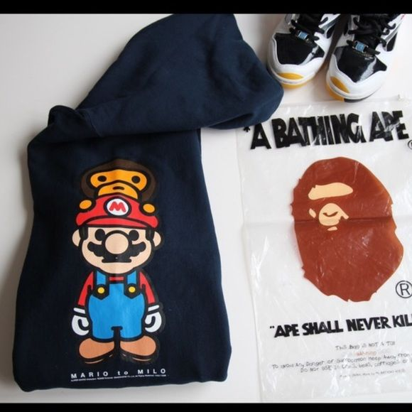 c66f3047 A Bathing Ape (BAPE) Milo x Mario Collab Hoodie This is authentic BAPE  hoodie, from the Milo x Mario collaboration. It's a men's medium but fits  like a ...