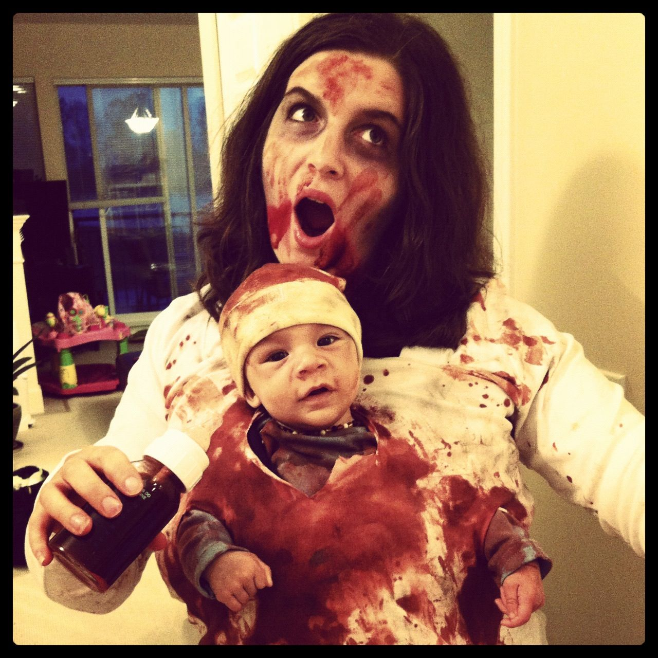 Mother and baby Zombie Halloween costume. Baby stays snug in a ...
