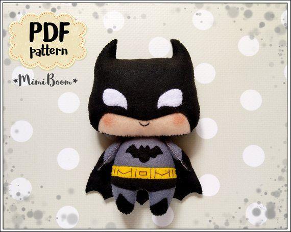Cute Batman pattern felt Batman PDF pattern DC comics inspired ... 9b9af697aad