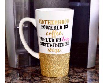 Motherhood Glitter Mug //  Glitter Mug // Glitter Dipped Mug // Ceramic Coffee Mug // Mom Coffee Mug // Mothers Day Mug