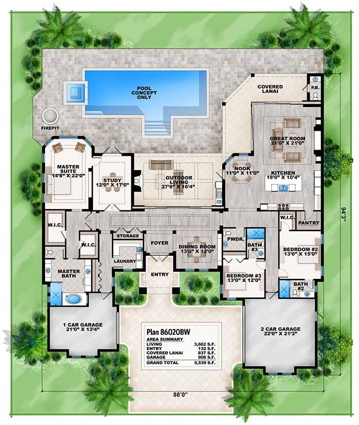 Plan 86020bw Florida House Plan With Open Layout Florida House Plans Mediterranean Style House Plans Family House Plans