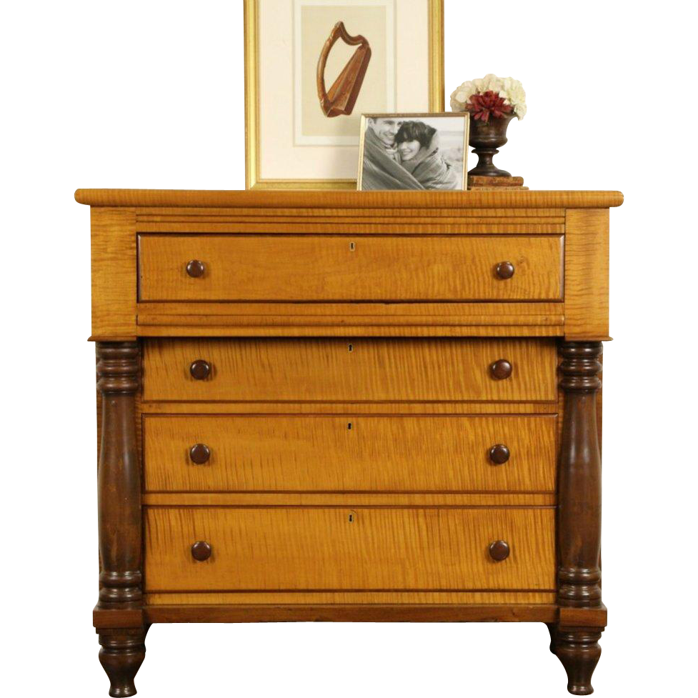 has columns contrasting pin tiger chest or grain empire knobs american dresser and curly maple solid walnut