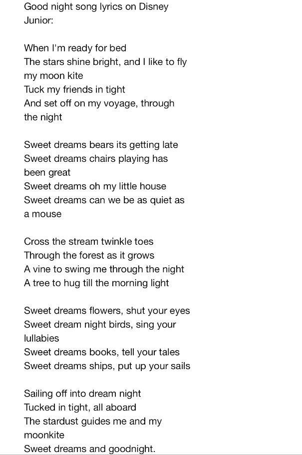 Lyrics For Sweet Dreams Song On Disney Junior Full Version As Shown On Australian Tv Sweet Dreams Song Good Night Song Songs