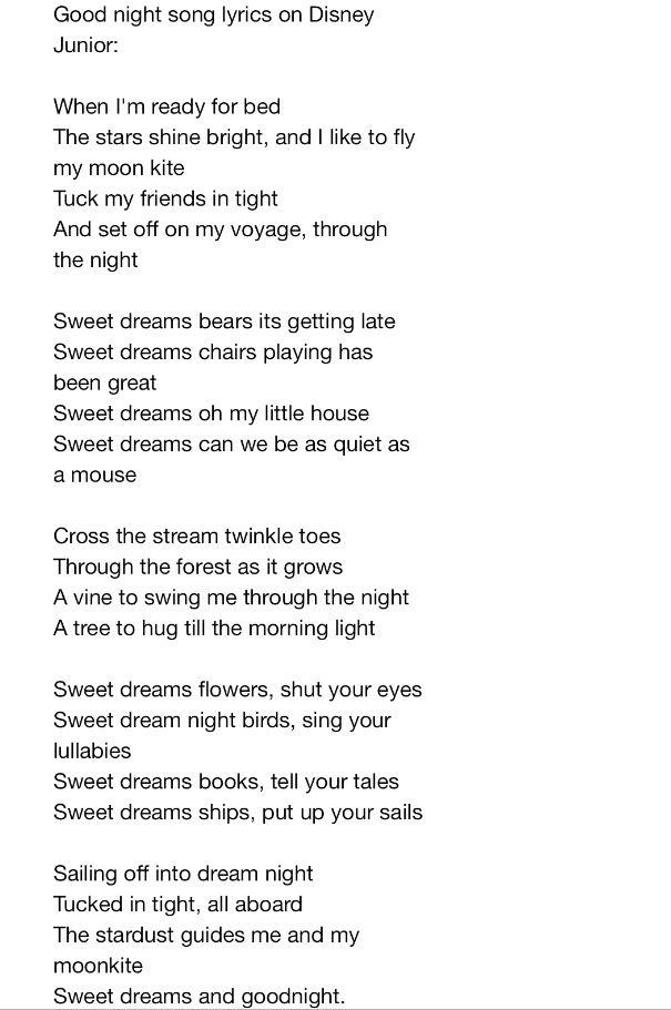 Lyrics For Sweet Dreams Song On Disney Junior Full Version As Shown On Australian Tv Sweet Dreams Song Good Night Song Songs