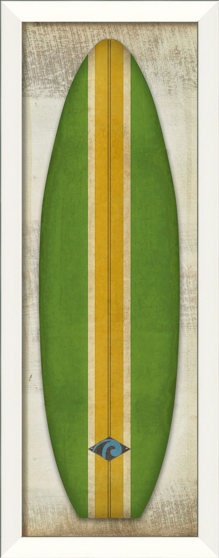 Malibu Classic Surfboard Framed Graphic Art in Yellow and Green ...