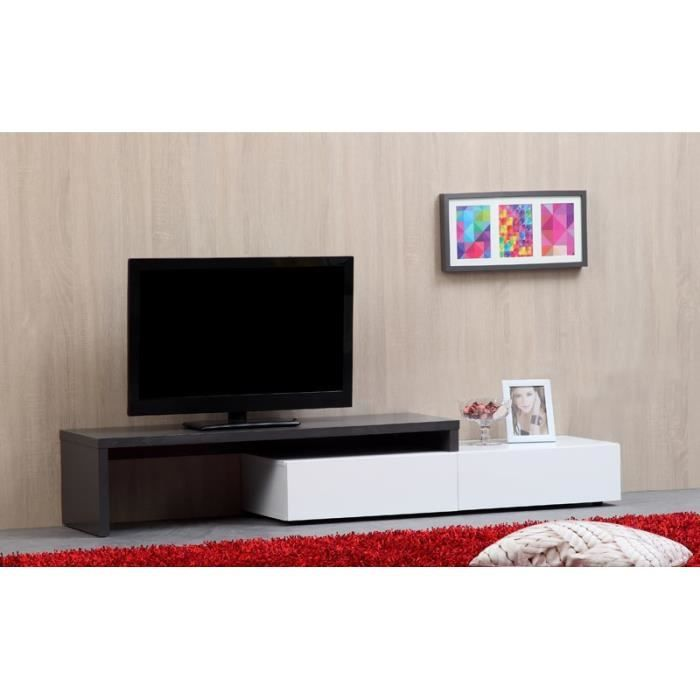 62 tamara meuble tv extensible 120200cm grisblanc achat vente - Meuble Tv Blanc Glossy