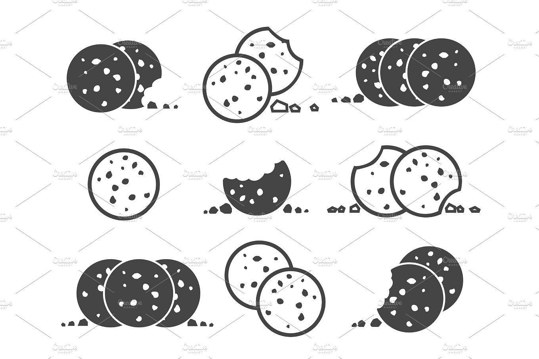 Bitten chip cookies icon set Cookies branding, Cookie