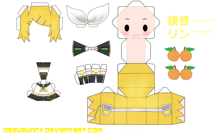 Kagamine Rin Papercraft Anime crafts, Paper crafts