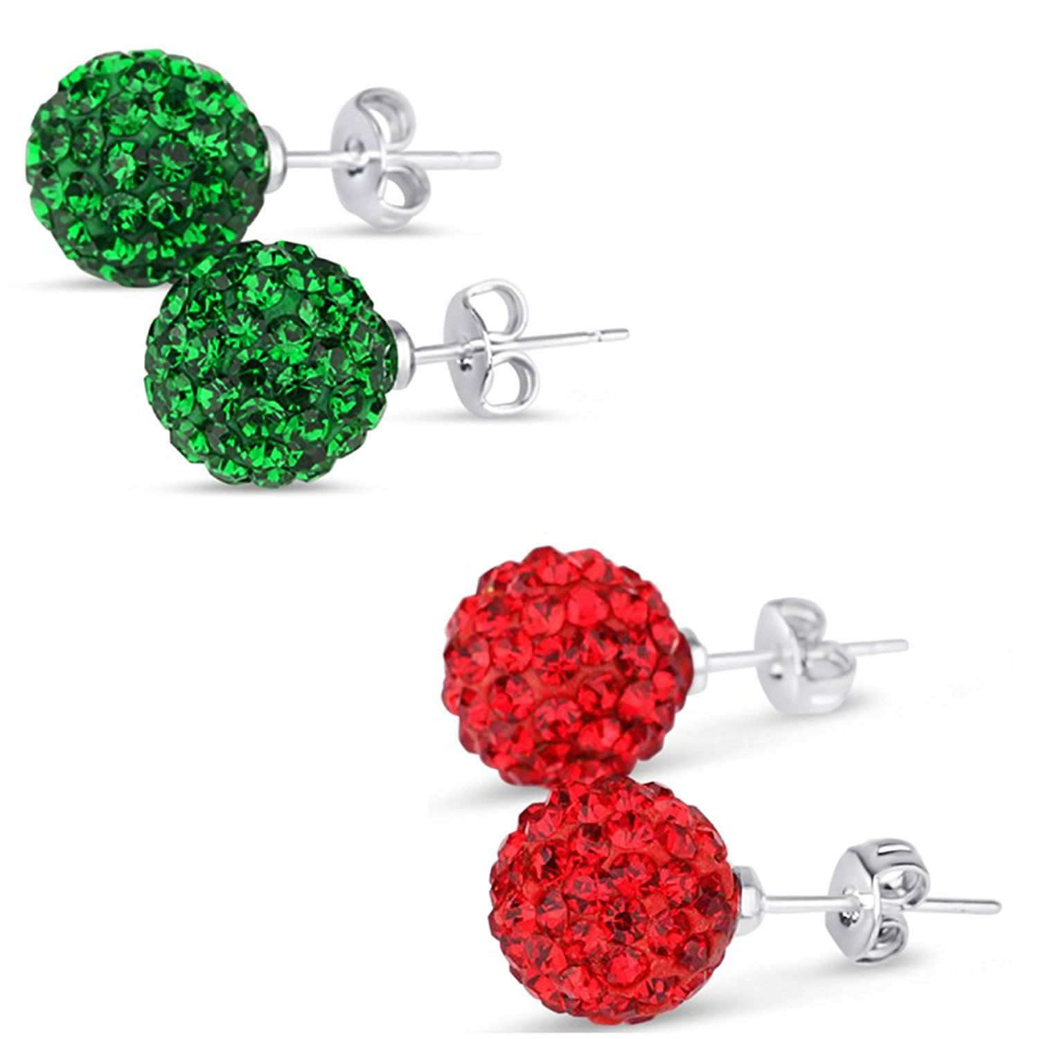 3853751cd Sterling Silver 6mm Each 925 Dark Green and Red CZ Crystal Bead Ball Combo Stud  Earrings >>> Remarkable discounts available : Women's Fashion for FREE