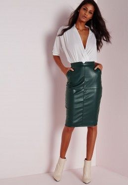 Back Split Faux Leather Midi Skirt Khaki | Missguided | Pinterest ...