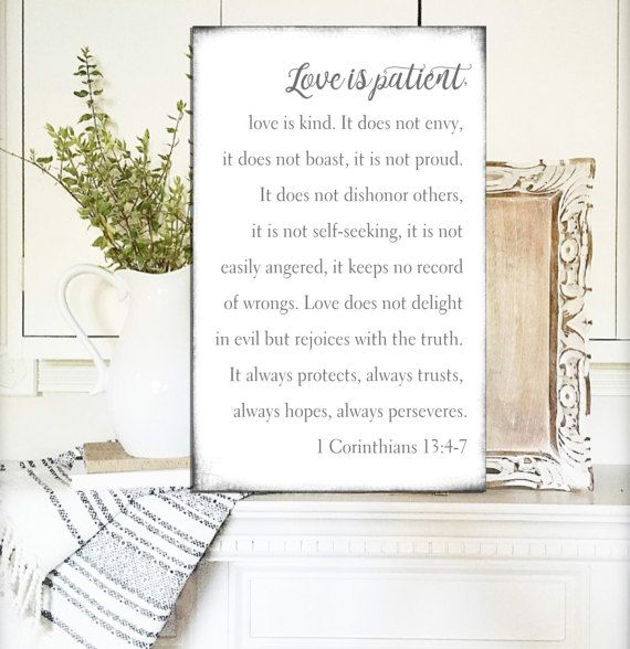 Love is Patient Sign Love is Kind Sign 1 corinthians 13 Sign Fixer ...