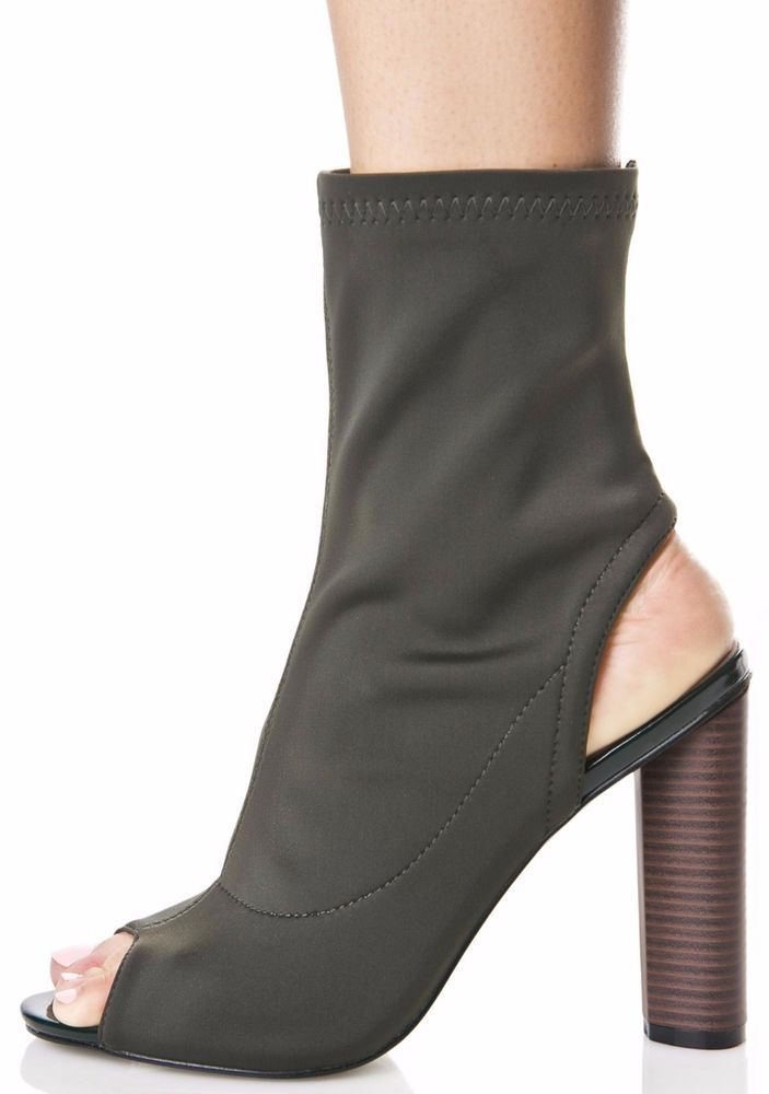 afe66df077d06 Olive Open Peep Toe Lycra Elastic Pull On Ankle Bootie Block Heel CAPE  ROBBIN  CapeRobbin  AnkleBoots  Clubwear