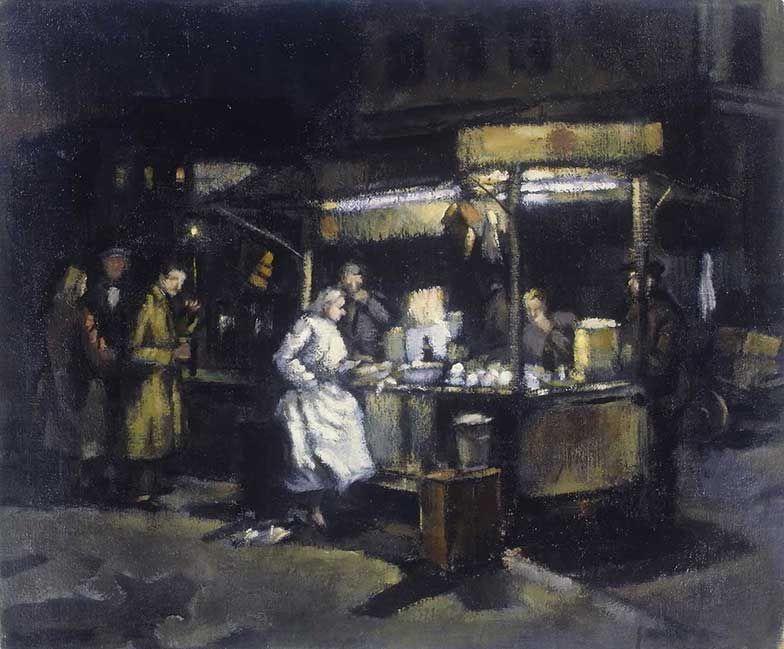 Tubby Isaacs Shelfish Stall c.1955 by Cyril Mann (British 1911 - 1980) Oil on canvas