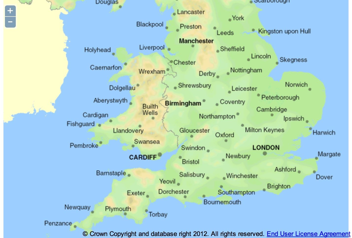 Map Of England With Cities map of great britain showing towns and cities   Google Search