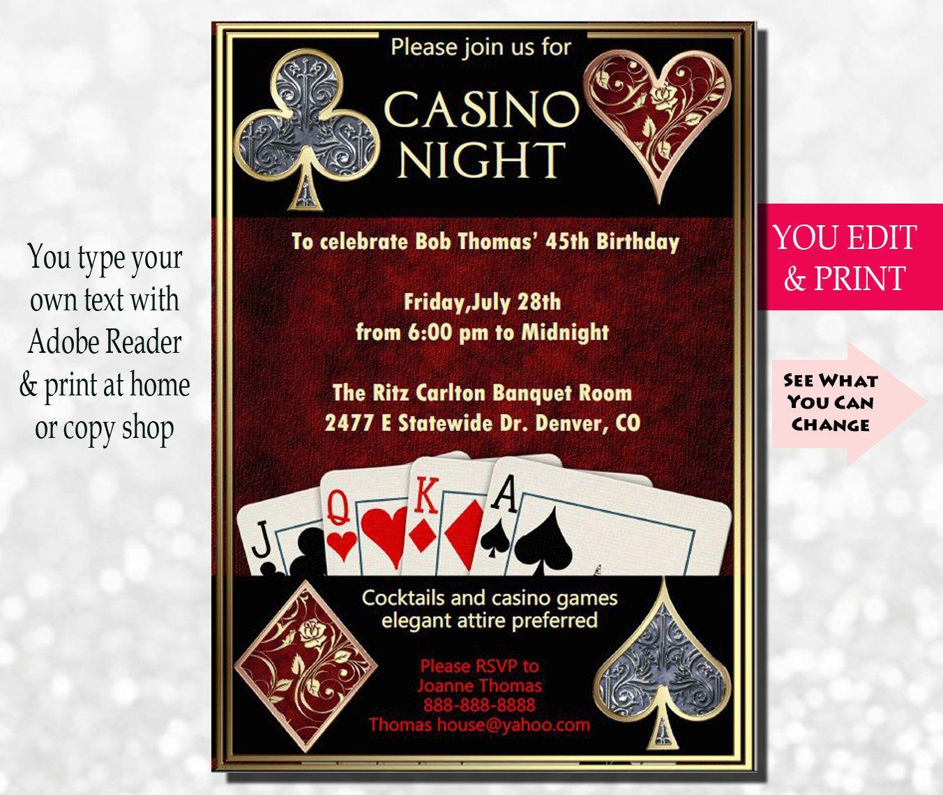 Our Casino Night invitations will add an elegant Las Vegas feel to ...