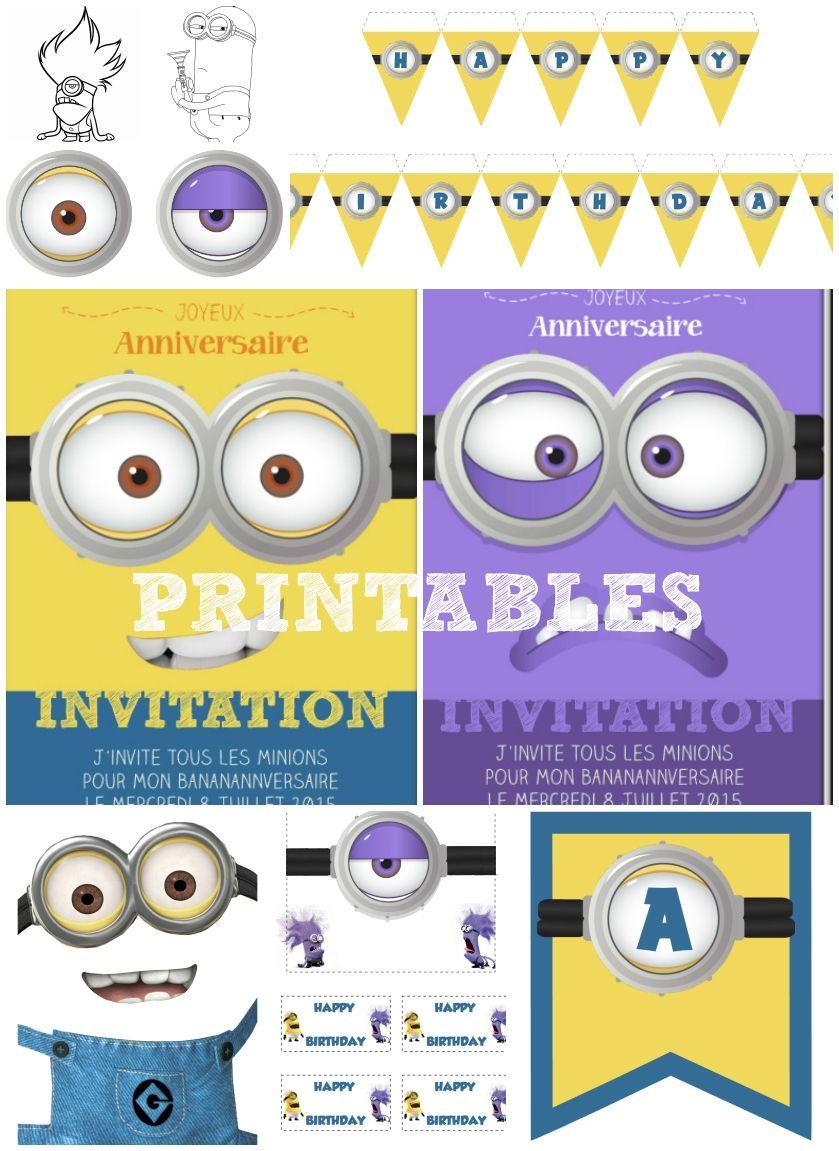 kit minions gratuit anniversaire imprimer free printables minion